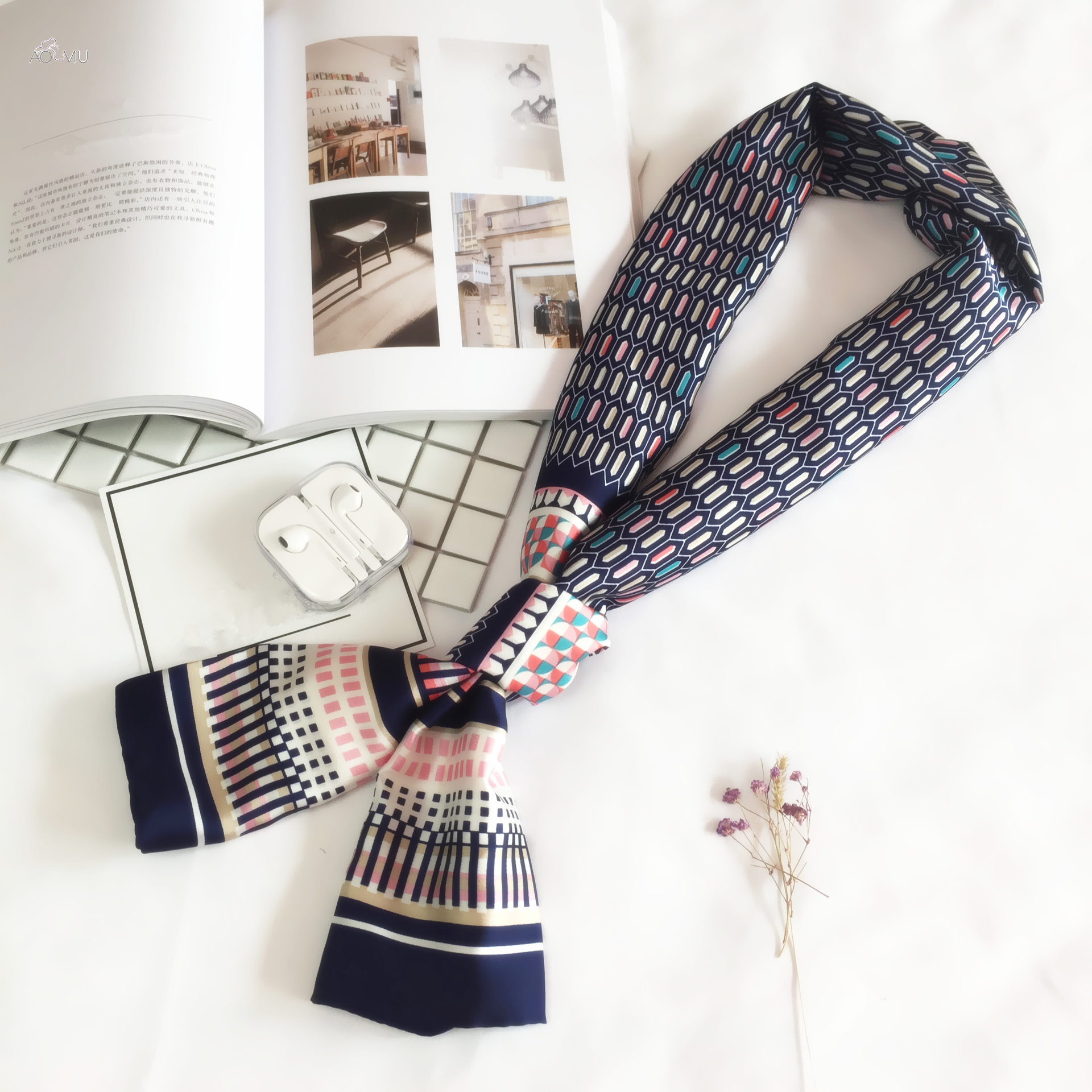 AOMU 145*15cm Design Spring Silk Long Scarf For Women Double Print Scarves Tie Elegance Neckerchief Neck Head Scarf For Girl