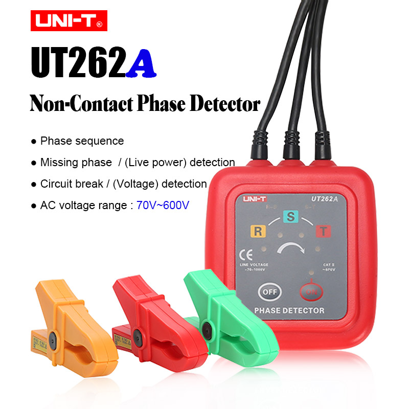 Бесконтактный 3 фазовый детектор UNI-T UT262A UT262C; живой провод обнаружения; фаза identipcation; не хватает-фаза решение измеритель напряжения переменного тока - Цвет: UT262A