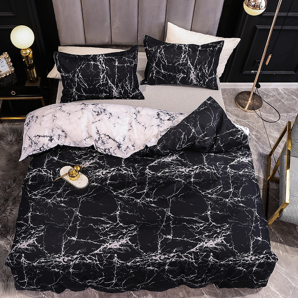 Classic Bedding Sets Black Marbling Design Comforter Quilt Cover Duvet Set Double King Queen Double Single Size Pink Bed Linens image