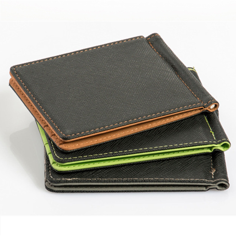 Leather Men Money Clip Wallet Solid Male Purses Designer Clip Cash Holder Card Cases Fashion Slim Wallet ID Credit Card Case