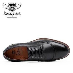 Image 5 - Desai luxe en cuir véritable hommes chaussures formelles bout pointu haut qualité en cuir de vache Oxford hommes chaussures habillées taille