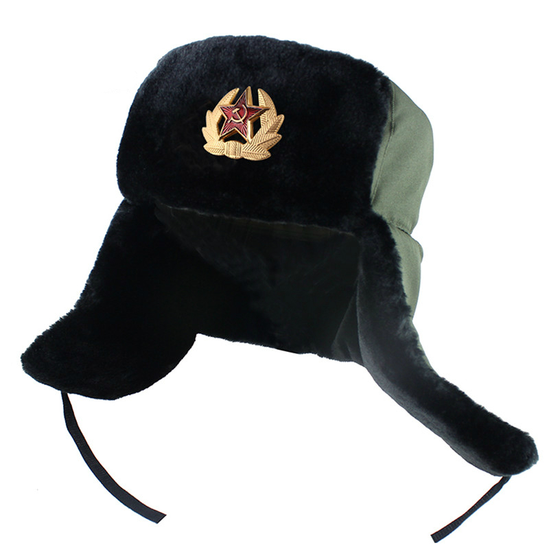 Men Winter Army Military Badge Russia Ushanka Bomber Hats Pilot Trapper Trooper Hat Faux Rabbit Fur Earflap Men Snow Caps New