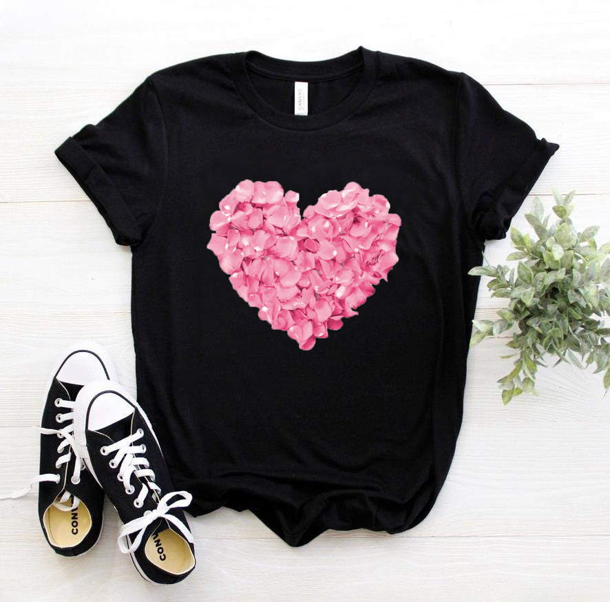 Pink Heart Flower Print Women Tshirt Cotton Casual Funny T Shirt Gift 90s Lady Yong Girl Street Drop Ship S-894