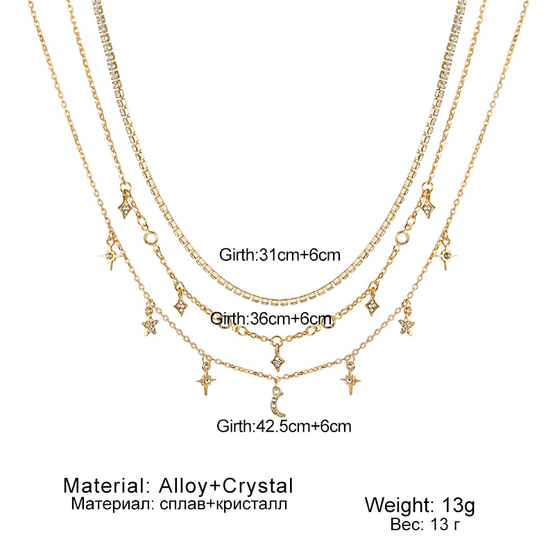 New Multilayer Crystal Moon Necklaces & Pendants For Women Vintage Charm Gold Star Choker Necklace 2019 Bohemian Jewelry Gift