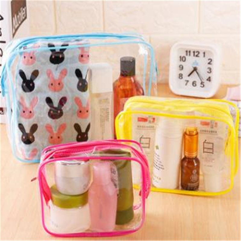 PVC Cosmetic Bags Women Transparent Clear Makeup Bag Travel Organizer Bath Wash Tote Beauty Storage Zipper Pouch Make Up Case