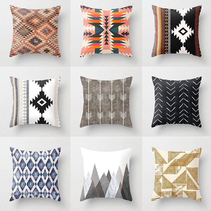 ZENGA Bohemian Throw Pillows Brown Cushion Cover Decorative Vintage Pillow Cover Geometric Pillow Case For Sofa Pillowcase 45*45