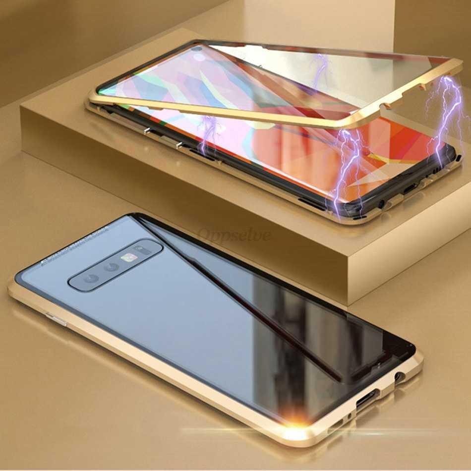 Oppselve 360 2 Mặt Kính Từ Ốp Lưng Dành Cho Samsung Galaxy Samsung Galaxy S10 S9 S8 Plus + Kính Cường Lực Lưng Nam Châm Bao coque Fundas