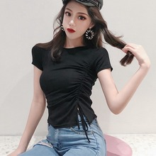 Female T-shirt Fashion Drawstring Slim T-Shirt O-Neck Short Sleeves Tee Shirt NS