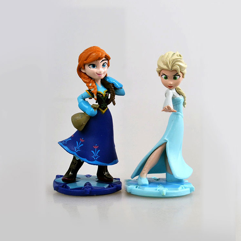 Disney 2pcs/set Q Posket Snow Queen Elsa & Anna Figure Cake Decoration Toys PVC Action Figure Kids Toys Dolls 9 Cm
