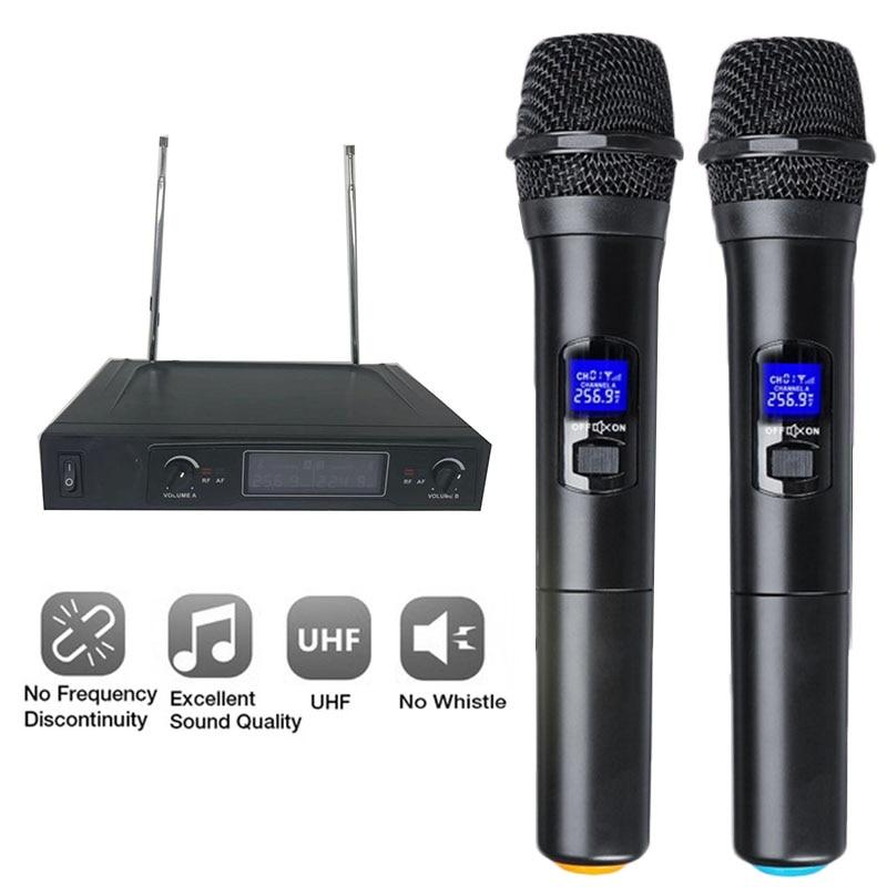 Système de Microphone sans fil double Microphone à main sans fil Kit de Microphone sans fil professionnel 2 canaux pour karaoké en Studio