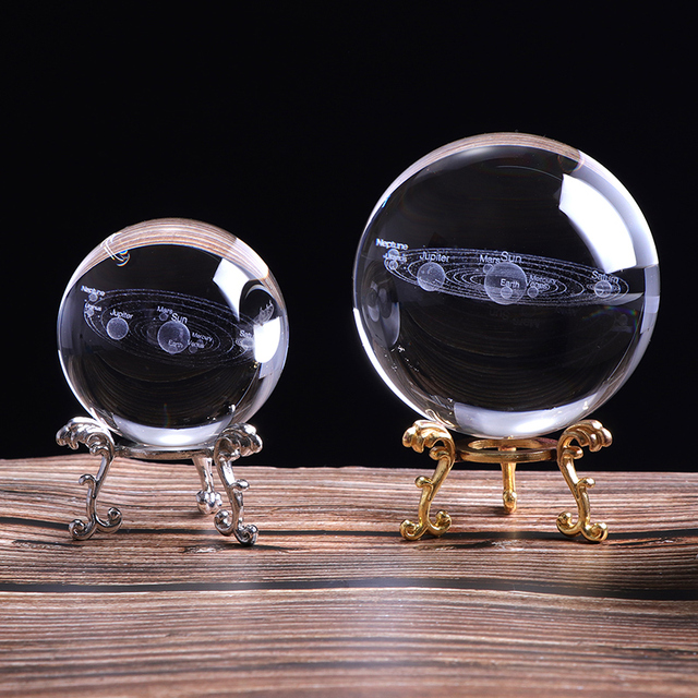 3D Solar System Crystal Ball Planets Glass Ball Laser Engraved Globe Miniature Model Home Decor Astronomy Gift Ornament 60/80mm 1