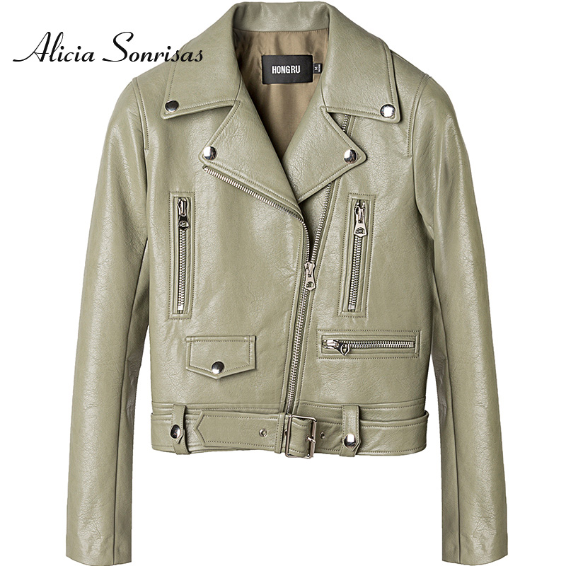 2020 New Spring Leather Jacket Women Short Faux Leather Motorclcle Green Slim-Fit Locomotive-Style Grey White Biker Coat HR1020