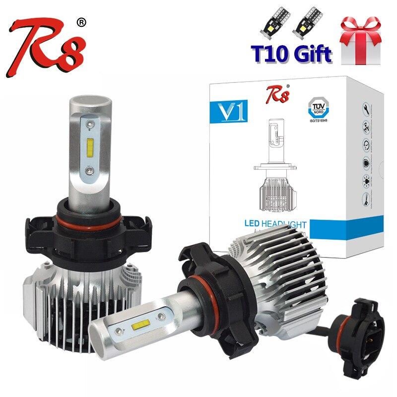 R8 2 uds macho y luz antiniebla LED de coche bombillas 5202 5201 H16-EU 2504 PSX24W lámpara 72W 8000LM 6000K blanco Flip Chipset