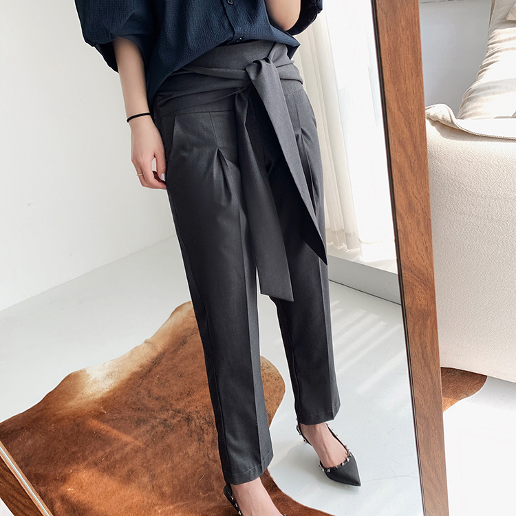 Women OL Office Harem Pants 2020 New Fashion  Bow Tie High Waist  Knee-Length Trousers With Pockets 2020 New
