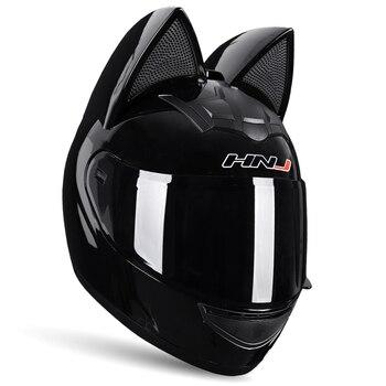 Motorcycle Helmet Women Moto Ear Helmet Personality Full Face Motorbike Helmet Motocross Capacete Casque Moto Helmet Black цена 2017