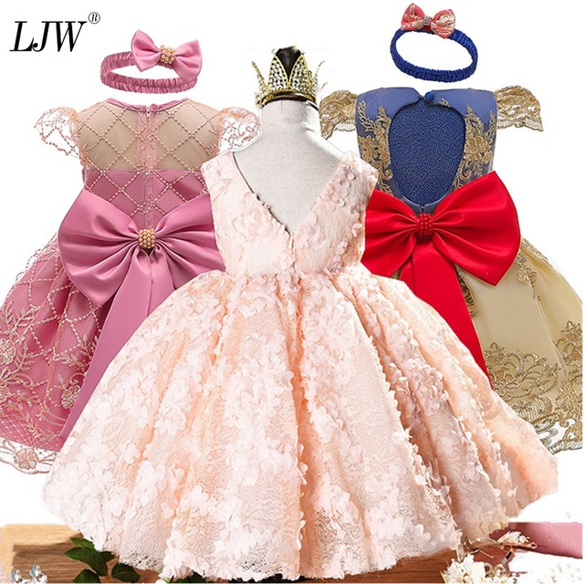 Kız elbise vaftiz elbise bebek pembe petal zarif çiçek kız düğün elbise tutu prenses bebek kız elbise