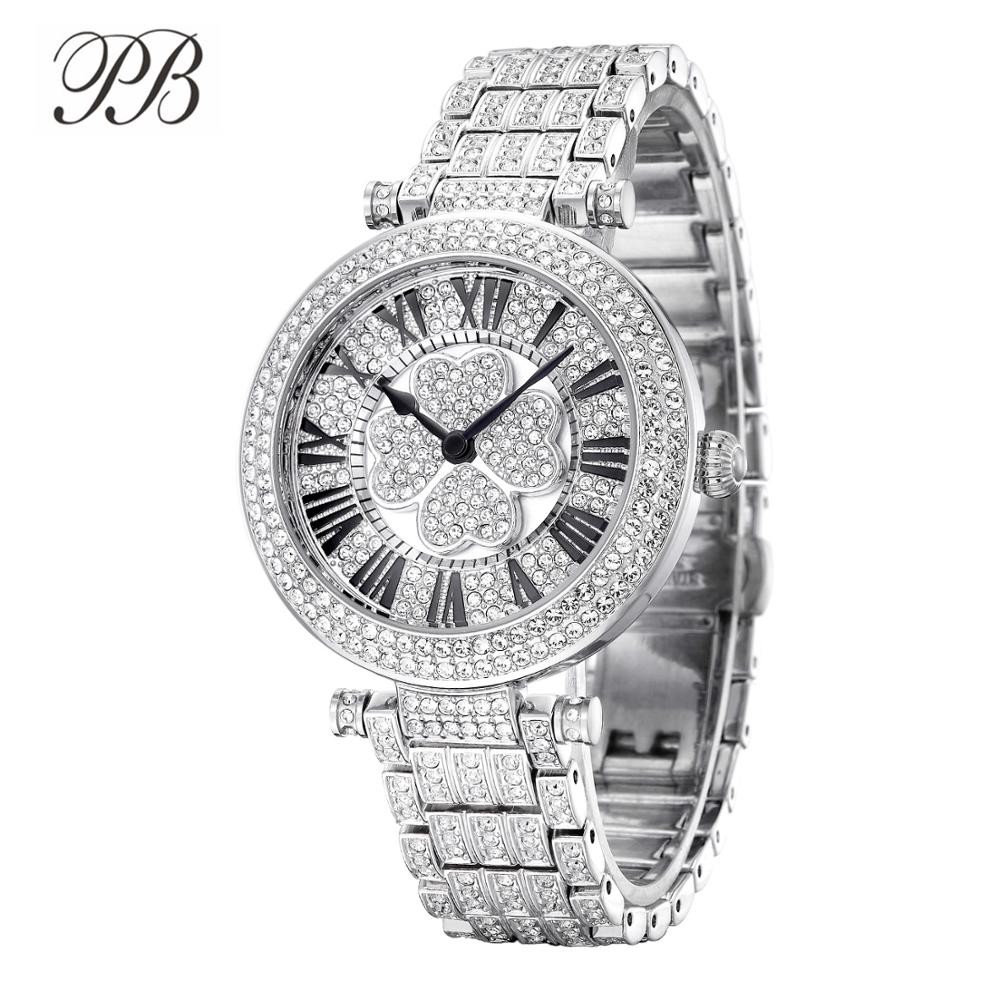 PB часы женские наручные с четырьмя листьями клевера инкрустированные стразами вращающиеся часы наручные женские кристалл браслет серебря