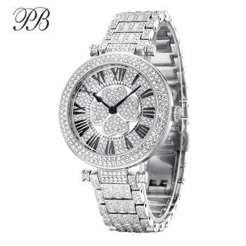 PB Watch Women Four-Leaf Clover Rotatable Dial Watches Women Crystal Bracelet Silver Quartz Waterproof Luxury Relogio Feminino