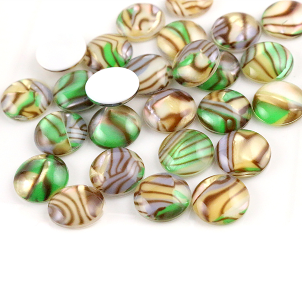 New Fashion 40pcs 12mm Paddy Colors Artificial Shells Flat Back Resin Cabochons Cameo  H1-30