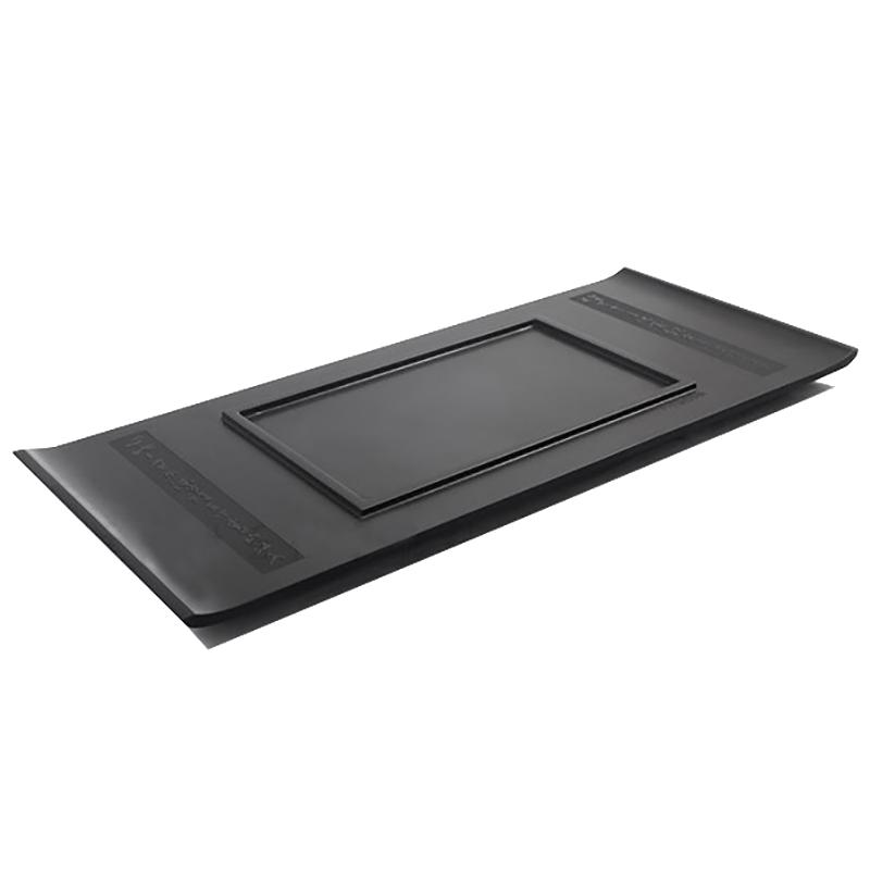 Утяжеленный поднос для чая из черного камня в форме лодки, креативный чайный столик для кунг фу, сервировочный поднос ручной работы с гравир