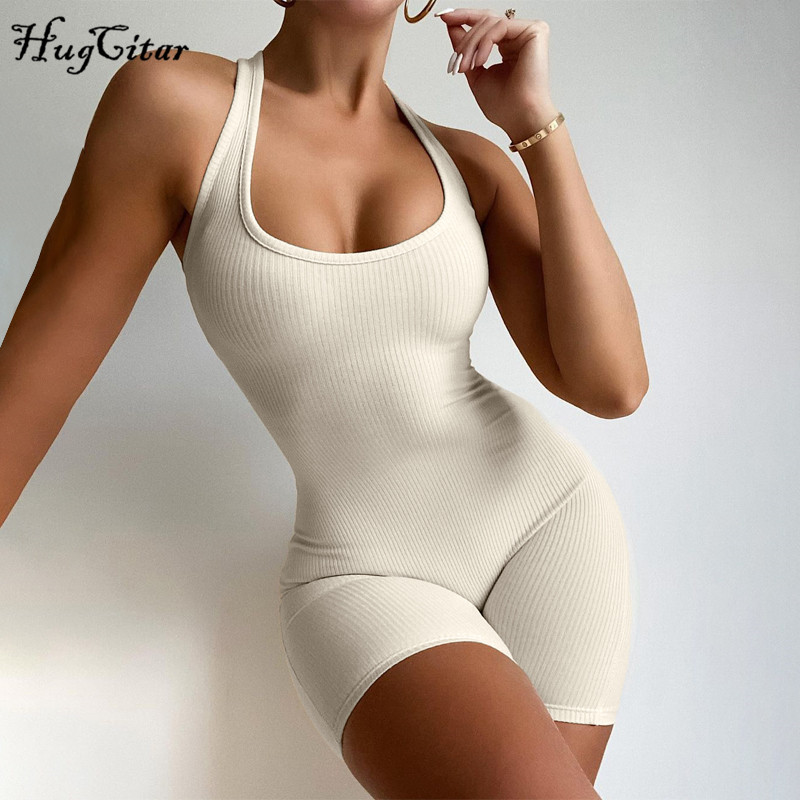 Hugcitar 2020 Sleeveless Halter Solid Backless Ribbed Skinny Bodycon Playsuit Autumn Winter Women Streetwear Casual Romper 1