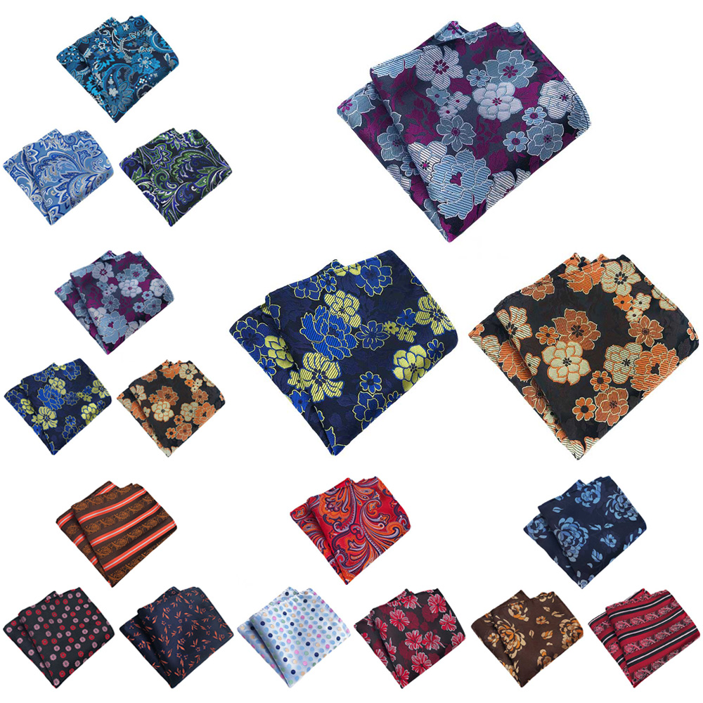 3 Packs Men Stylish Floral Stripe Pocket Square Handkerchief Wedding Party Hanky