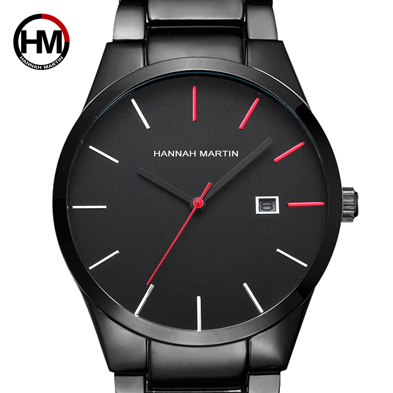 2018 Quartz Creative Vogue Red amp Black Stainless Steel Band Business Men Top Brand Luxury Watches De Luxo Waterproof Dropshipping