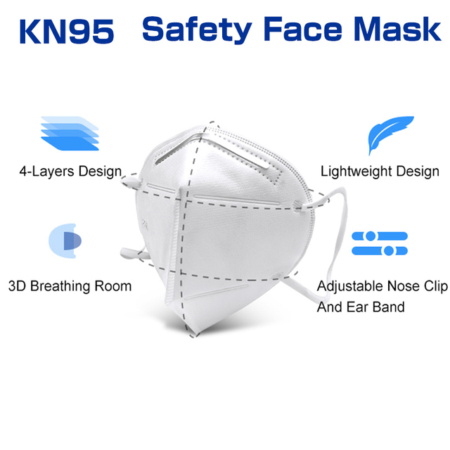 20 Pcs FFP2 KN95 Masks 4 Layers Filter Dust Mouth PM2.5 Face Mask Flu Personal Protective Health Care Mask Fast Shipping 3