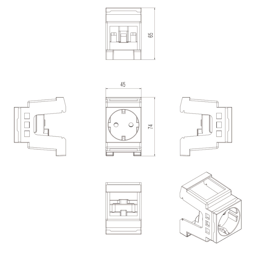 H1a137d3d79b54f2cbbbbea2a653d6b02e - French Standard  din rail mount power socket English-scale Digital Socket C45 British Standard Card Rail Socket
