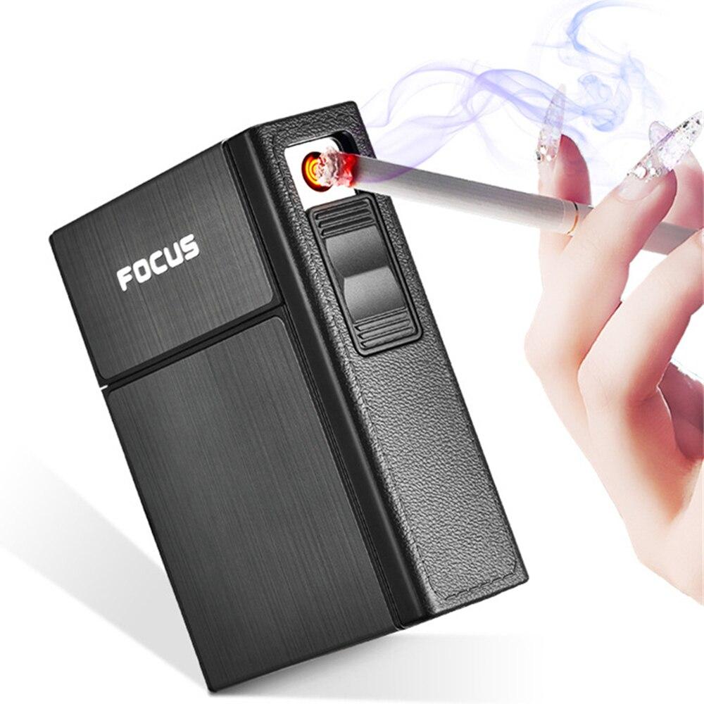 2 in1 cigarro caso com isqueiro de carregamento usb recarregável elétrica isqueiro segurar 20 cigarros isqueiros fumar