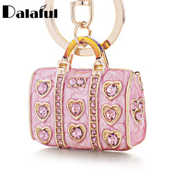 Dalaful-porte-clés de sac à main en émail cristal, sac à main élégant, boucle pendentif pour clés de voiture, support pour femmes, K234