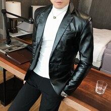 Chaqueta de traje de piel sintética para hombre, chaqueta ajustada informal de estilo coreano, Chaqueta de traje a la moda para otoño, Blazer para cantante y escenario para hombre