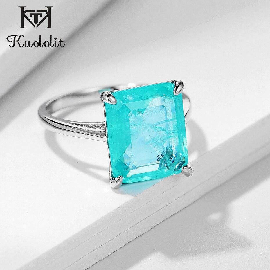 Kuololit Paraiba Gemstone Rings for Women Real 925 Sterling Silver Emerald Cutting Tourmaline Handmade Engagement Bride Jewelry(China)