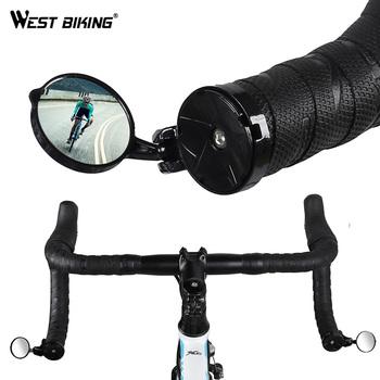 WEST BIKING lusterko wsteczne do roweru droga kierownica rowerowa lustro 360 stopni obrotowe akcesoria rowerowe bezpieczna kierownica rowerowa lusterko wsteczne tanie i dobre opinie HSJ-YP0720017 Handlebar rear mirror PC and acrylic glass About 20m ~ 40m About21mm-22mm About 16 g rotatable Ultralight EasyInstallation