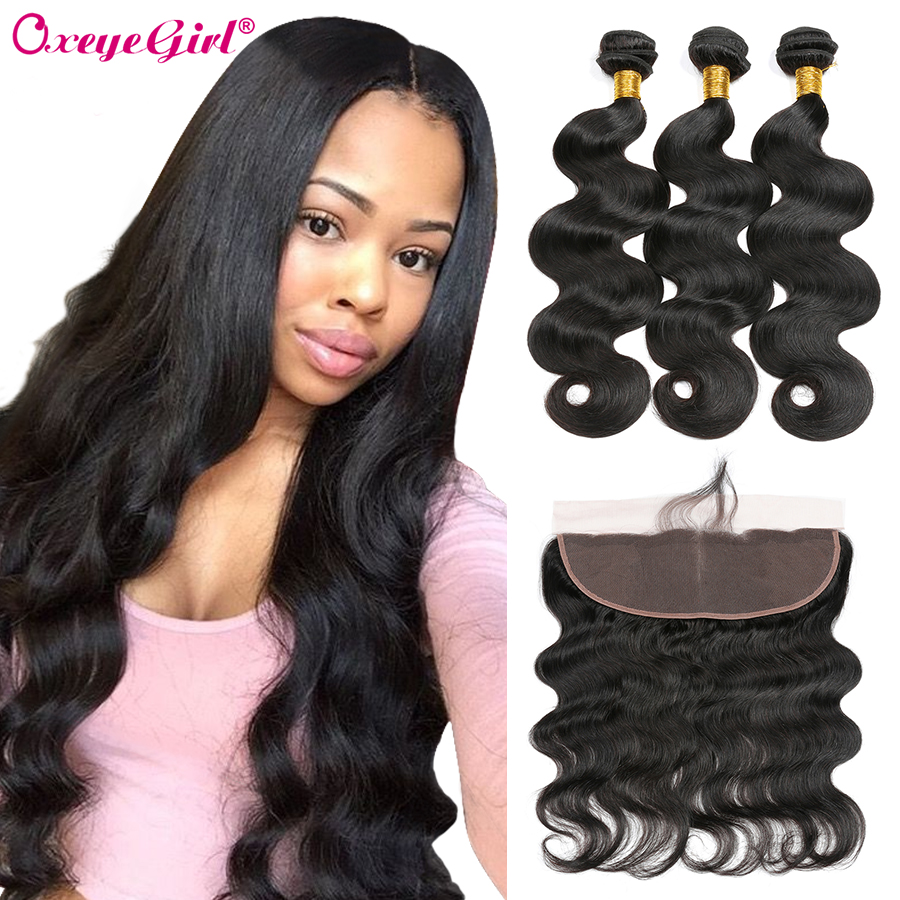 Body Wave Bundles With Frontal Oxeye Girl 100% Human Hair Bundles With Frontal Brazilian Hair Weave Bundles With Closure Remy