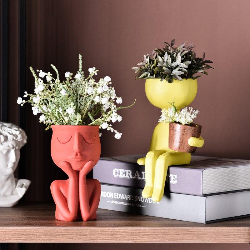 Fashion Character Portrait Flower Pot Resin Succulents Plant Pot Abstract Human Face Flower Pot Home Desktop Vase Decor Ornament