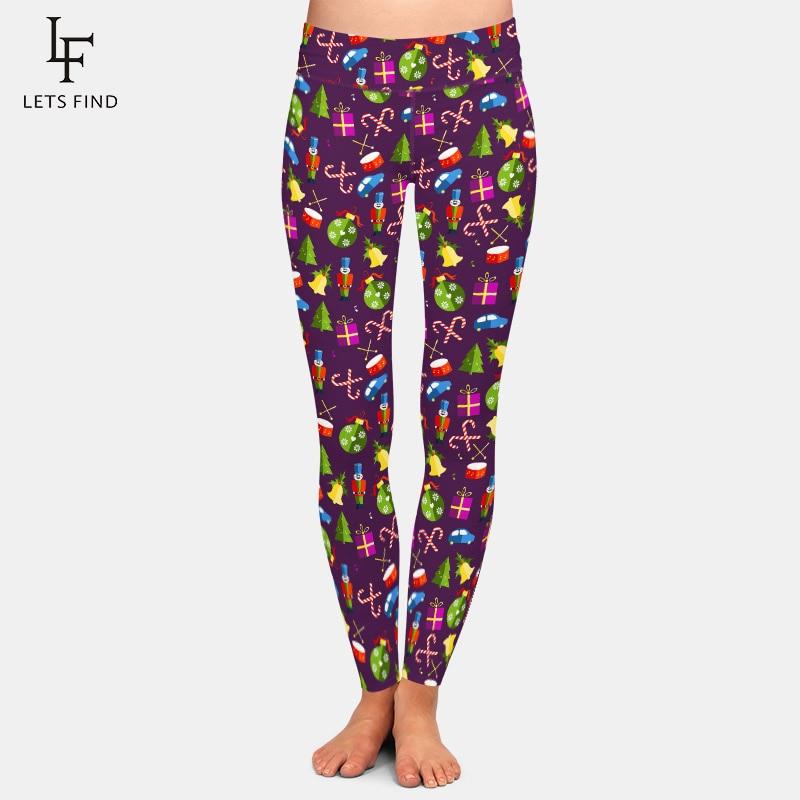 LETSFIND 2020 High Quaility Christmas Pattern with Toys Digital Print Leggings High Waist Plus Size Slim Women Fitness Leggings 1