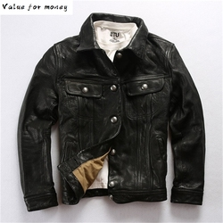 Shipping Fast Autumn Winter Genuine Leather Jackets Men's Classic Vintage Fashion Sheep Leather Jacket High Quality Warm Coats