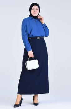 Minahill granatowy niebieska spódnica 2220-01 tanie i dobre opinie Dla dorosłych Kombinezon Octan