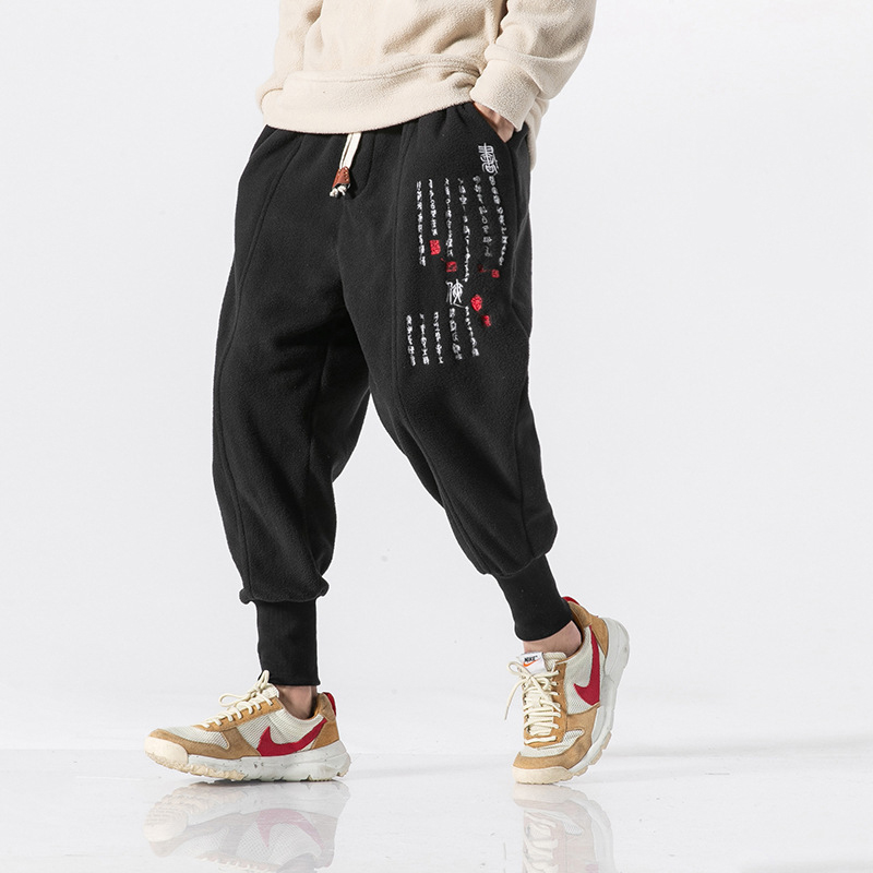 Harem-Pants Streetwear Hip-Hop-Trouser Chinese Cotton Casual Man Retro Embroidery Men