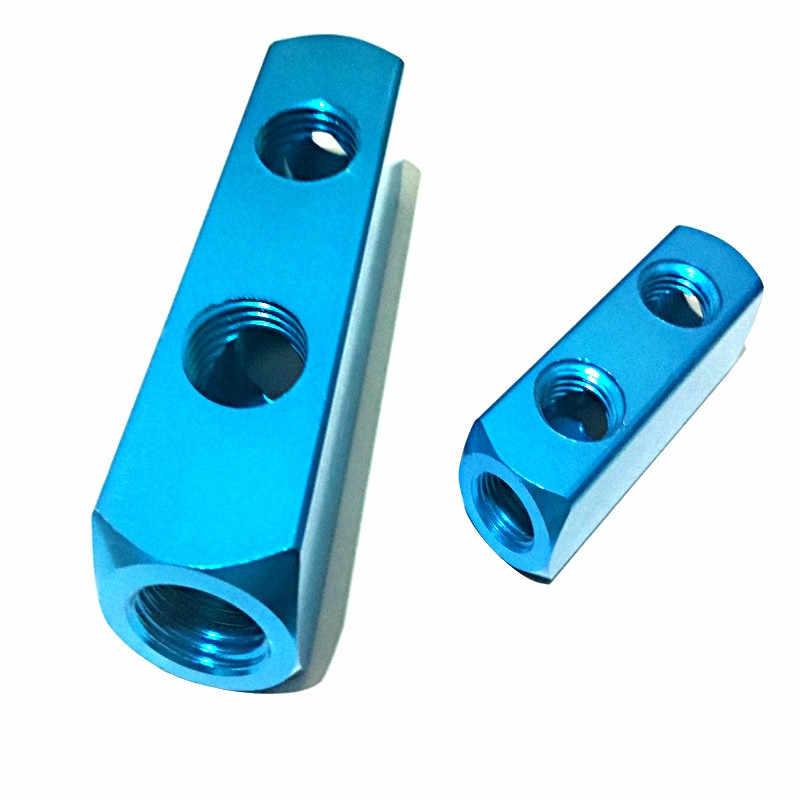 Color : 7 Way 10 Port qfkj Industry Air Manifold Distributor 1//4 PT Thread Port 2 3 4 5 6 7 8 9 Way Pneumatic Quick Plug in Connector Hose Aluminum Block Splitter Practical