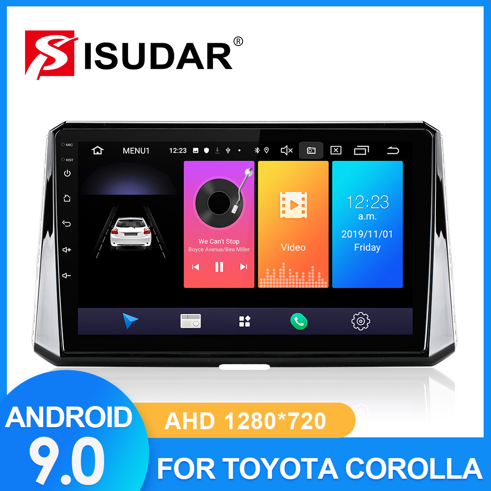 ISUDAR Car Radio For Toyota Corolla 2018 2019 2 Din Android 9 Autoradio Multimedia GPS DVR Camera RAM 2GB ROM 32GB USB Octa Core