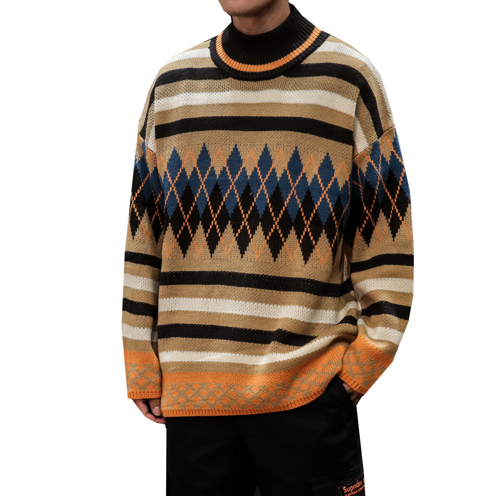 Winter Sweater Men Fashion Retro Geometric Patterns Casual Knit Pullover Sweter Wild Loose Long Sleeve Warm Sweater Man M-5XL