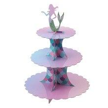 1 conjunto de três camadas de bolo de sereia suporte de sobremesa de sereia está festa de aniversário favor
