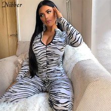 Nibber fashion Leopard print Graphics jumpsuits for women 2020 autumn new high street casual Activity wear long playsuit female(China)
