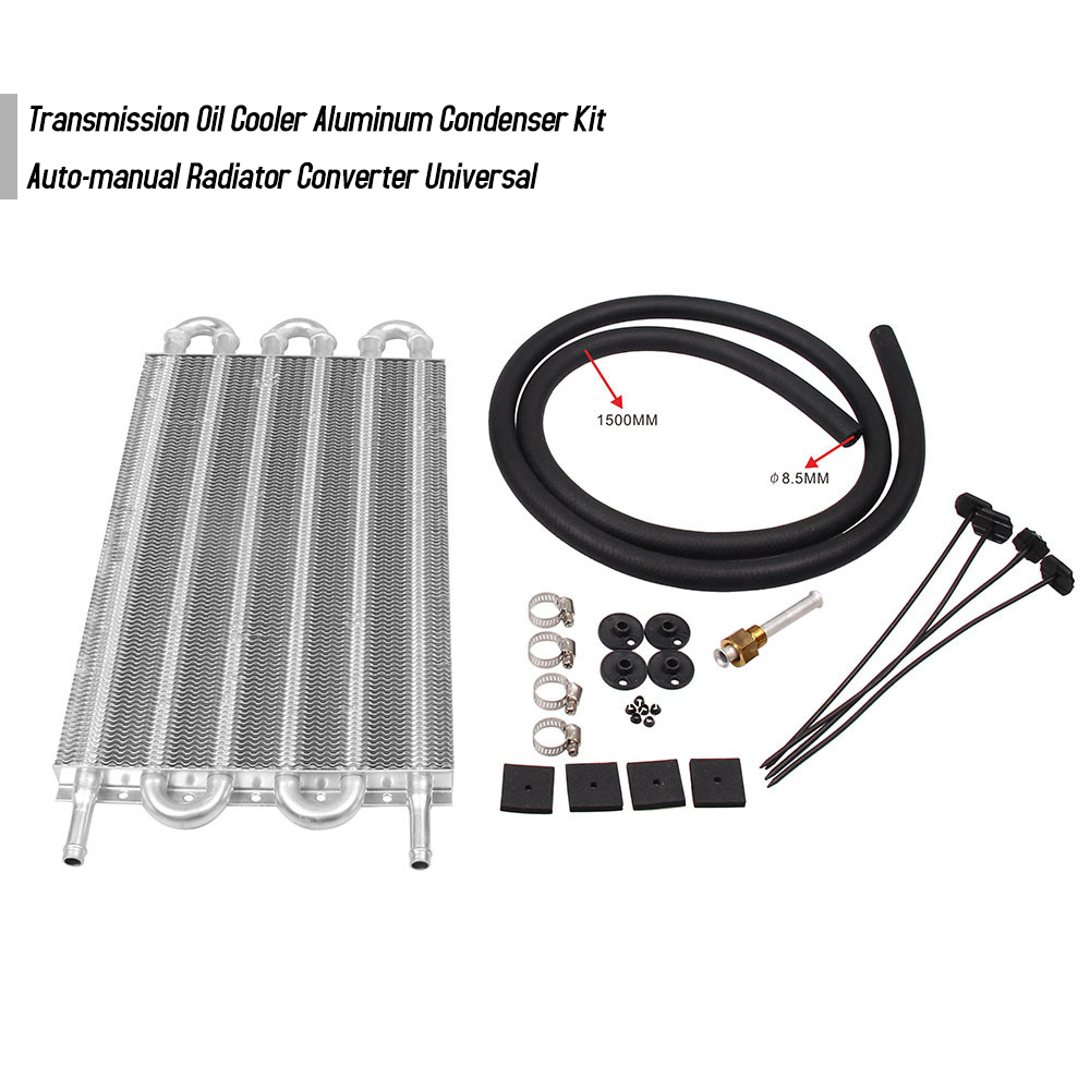 6 Row Aluminum Remote Transmission Oil Cooler//Auto Radiator Converter Kit