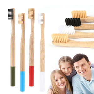Handle-Brush Oral-Care Whitening Bamboo Medium Plastic-Free Adults 1pc