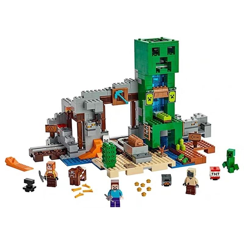 852pcs My World Creeper Ore Hole Treasure Hunt Building Blocks Compatible Legoingly Minecingly 21155  Bricks Children Toys