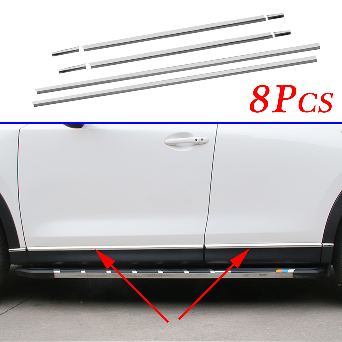 Stainless Steel Door Side Body Sill Stripes Cover Trim Fit For Mazda CX-5 KF 2017 2018 2019 Accessories Exterior Molding Parts