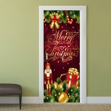 77cm/90cm decoração de natal 3d adesivos de parede boneco de neve padrão porta adesivos